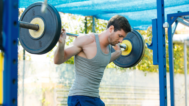 Male sports model exercising outside as part of healthy lifestyle.