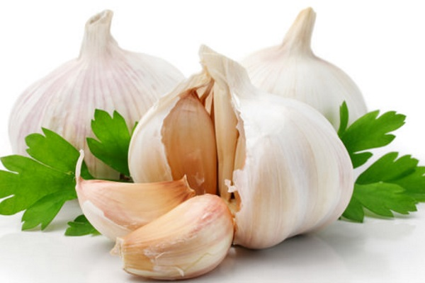 garlic-with-parsley-leaves